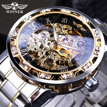 Winner moda transparente diamante luminoso engranaje movimiento diseño real hombres de marca superior de lujo masculino esqueleto mecánico reloj de pulsera
