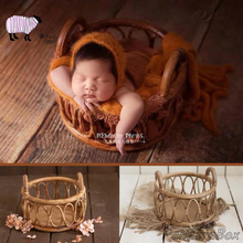 Rattan Basket Newborn Baby Photography Props Infant Fotografia Accessories Baby Boy Girl Photoshoot Studio Circle Basket Props dvotinst newborn baby photography props crochet knit wool eggshell basket filler fotografia accessories studio shooting props