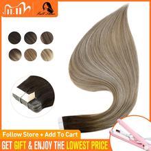Tam parlaklık bant saç Balayage renk 100% gerçek insan saçı uzantıları 20 adet 50g dikişsiz bant saç makine yapımı remy