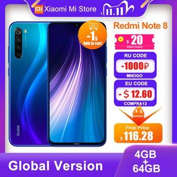 Global Version Xiaomi Redmi Note 8 4GB RAM 64GB ROM 48MP Rear Quad Camera Mobile Phone Snapdragon 665 Octa Core 6.3'' 4000mAh