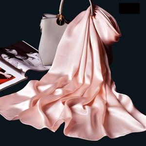 Image 4 - 100% Real Silk Scarf Women Bufanda,Hangzhou Silk Shawls,Wraps for Lady Solid Neckerchief Natural Silk Satin Scarf Foulard Femme