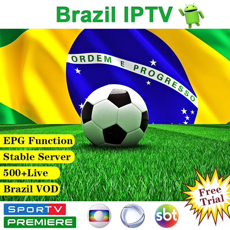 IPTV Brazil Subscription Android IPTV Device 500+Live VIP 4K H.265 EPG Free VOD IPTV Brasil Portuguese Subscriptio Brazil IP TV