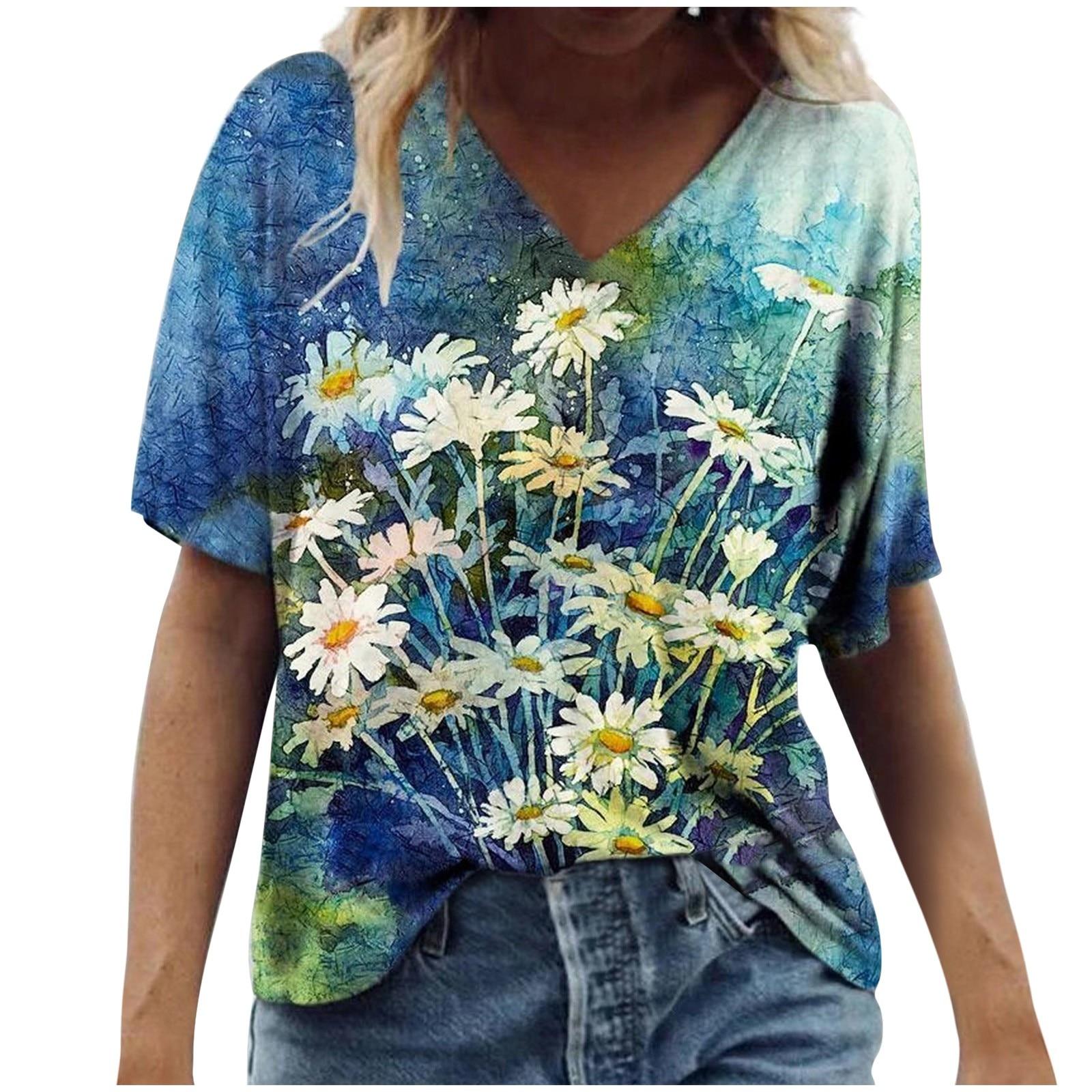 Vintage Frau T-shirts Frauen Sommer Blume Gedruckt Kurzarm V-ausschnitt T-Shirt Casual Tee Tops Graphic T Shirts Mujer Camisetas