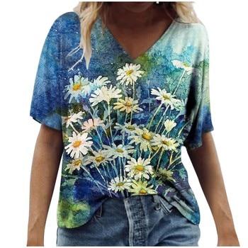 Vintage Woman Tshirts Women Summer Flower Printed Short Sleeve V-Neck T-Shirt Casual Tee Tops Graphic T Shirt
