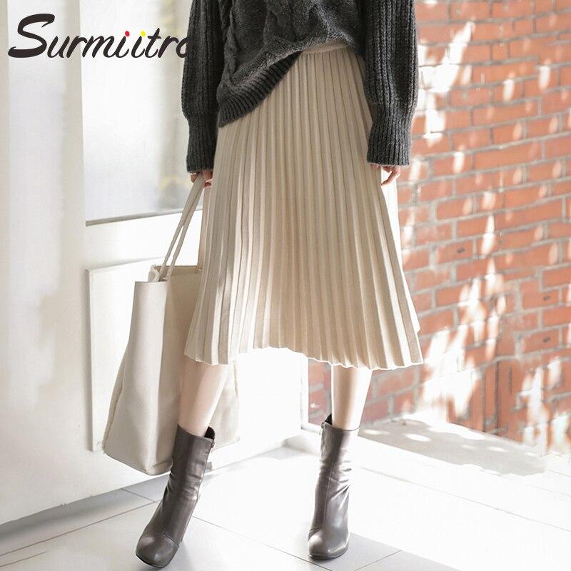 Image 5 - Surmiitro Knitted Midi Pleated Skirt Women For Autumn Winter 2019 Korean Ladies High Waist White Black Pleated Skirt Female-in Skirts from Women's Clothing