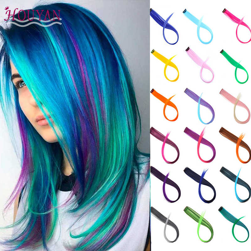 Houyan Long Straight Wig Hair Extensions Rainbow Short Hair Long Hair Synthetic Hair Clips Synthetic Clip In One Piece Aliexpress