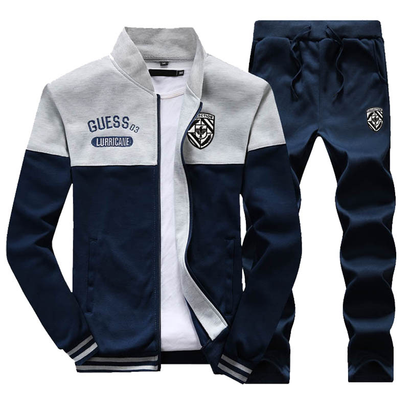Men's Sport Suit Autumn Stand Collar Casual Sweatshirt Baseball Uniform Jacket Men's Sports Wear Men's Trousers