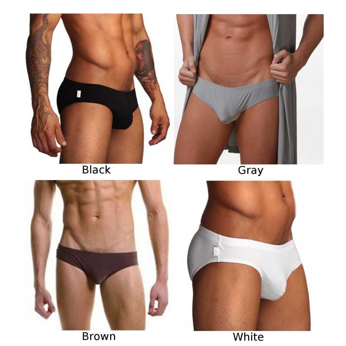Calzoncillos Sexy de cintura baja transpirables de Color sólido U convexo ropa interior de seda de hielo para hombre