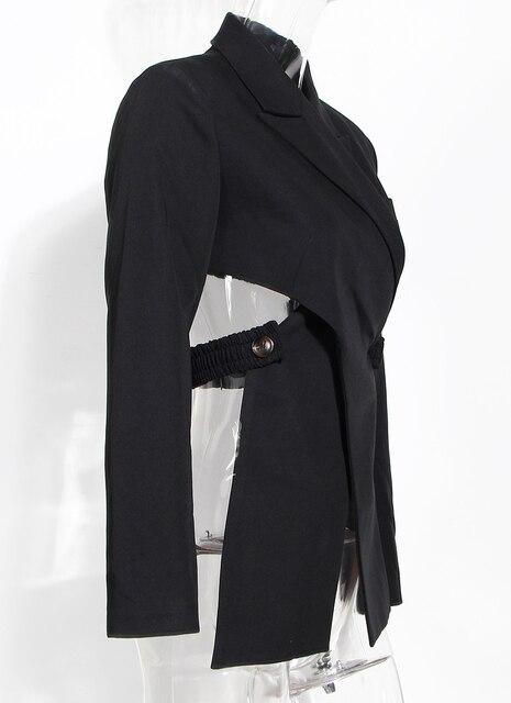 [EAM]  Women Black Cross Bandage Short Blazer New Lapel Long Sleeve Loose Fit  Jacket Fashion Tide Spring Autumn 2020 1T126
