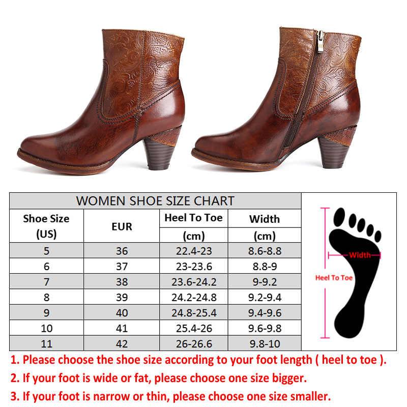 SOCOFY Retro สีทึบหนังแท้ Handmade Rose เย็บนุ่มแบนซิปรองเท้าออกแบบรองเท้าผู้หญิงรองเท้า Botas Mujer 2020