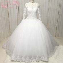 actual image wedding dresses 2020 lace up back long sleeve bridal court train ball gown gowns