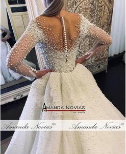 Image 3 - Dubai düğün elbisesi tam inciler düğün elbisesi ayrılabilir tren ile 2020 gelinlik