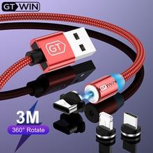GTWIN Магнитный Micro USB кабель для iPhone 7 зарядное устройство Шнур магнит Тип C кабель 3 м USB C Быстрая зарядка для samsung S9 Plus iPad Pro