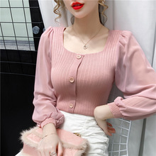 Women Blouse Shirt Mesh Long-Sleeve Patchwork Fashion Blusas Casual Tops And Autumn New