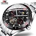 Tevise бренд Роскошный механический автоматический часы Tourbillon модные мужские часы из нержавеющей стали для мужчин Relogio Masculino подарки
