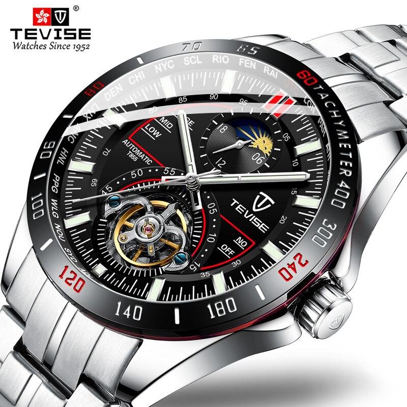 Tevise marque de luxe mécanique automatique montre Tourbillon mode hommes montre en acier inoxydable horloge pour homme Relogio Masculino cadeaux