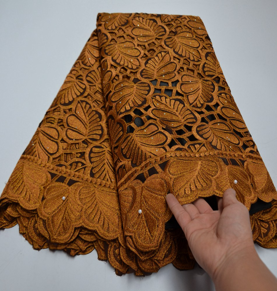 High Quality Nigerian African Cotton Lace Fabric With Stones Swiss Voile Lace In Switzerland For Wedding Dress TS9073