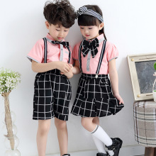 Plaid Children School Uniform Costume Performance Clothing Boy Girl Kindergarten Kids Cheerleader Students Clothes Bib Pants
