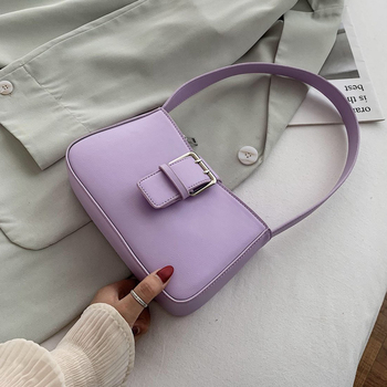 Solid Color PU Leather Armpit Bag Small Shoulder Bags For Women 2020 Summer Baguette Bag Fashion Travel Handbags And Purse