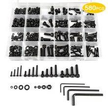 GUSIWU 580pcs hex socket cap head screw set 12.9 grade carbon steel m2 m3 m4 m5 hexagon cap head screw bolts and nuts washer kit