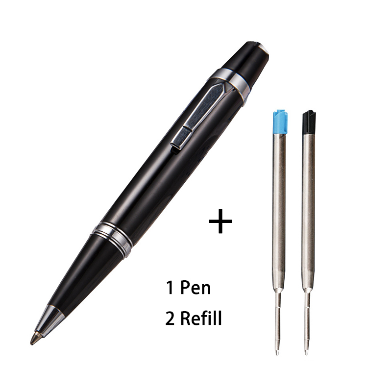 Luxury Mini Full Metal Short Ballpoint Pen Give 2 Refills 0.7mm Balck And Blue Ink Heavy Portable Notebook Roller Pens