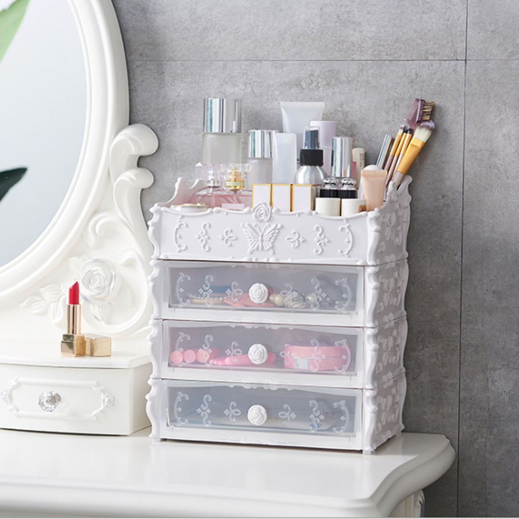 Cosmetics Drawer Container Plastic Finishing Bath Box Holder Cosmetic Nail Clippers Household Makeup Organizer Rack Organizer