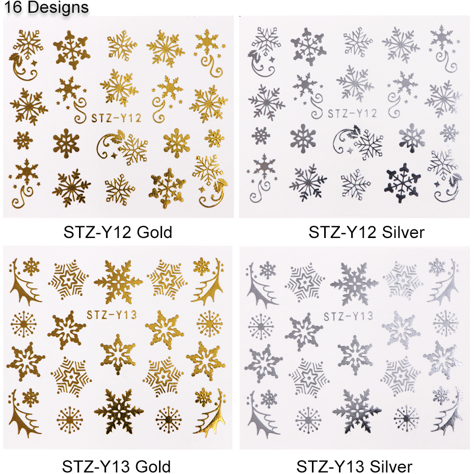 16pcset Winter Xmas Stickers For Nails Gold Silver Christmas Snowflake Water Transfer Decal Slider Manicure Decoration BESTZ-YA (7)
