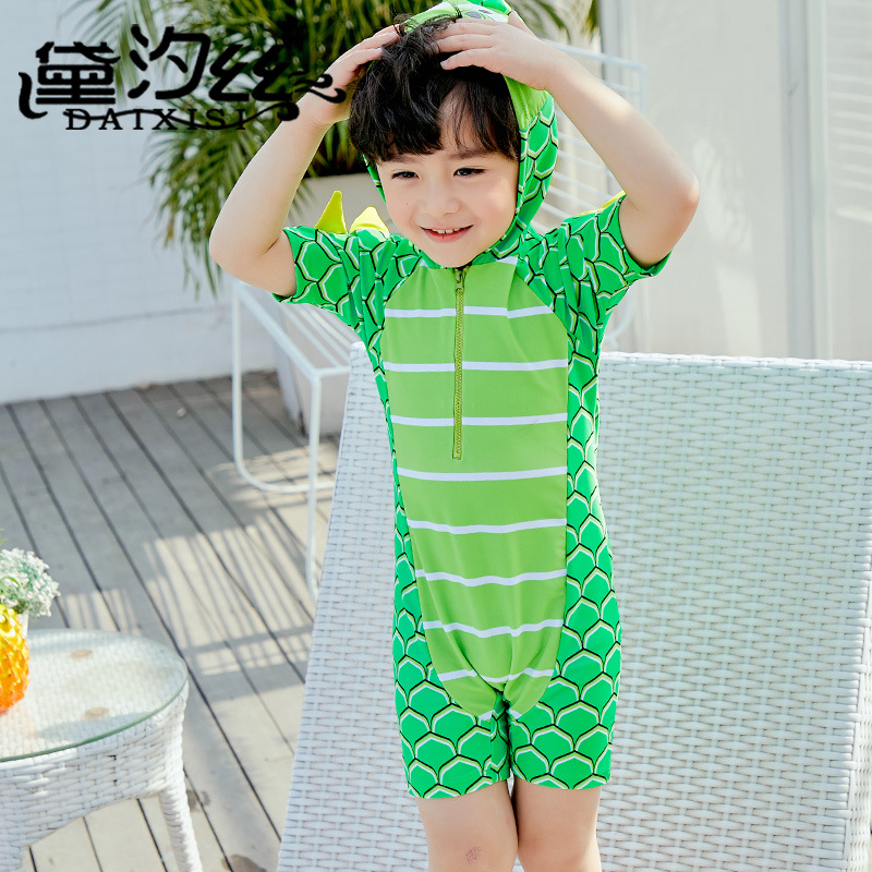 Dai Xi Si New Style KID'S Swimwear Fashion Cute Cartoon Small Crocodile BOY'S One-piece Boxer Bathing Suit With Swim Cap