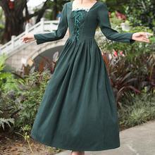 Новое поступление, Осеннее модное женское длинное платье в стиле принцессы с квадратным воротником зеленого цвета