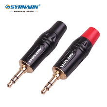 2pcs /lot 3.5 stereo connector Audio microphone plug audio 3.5mm Aux male plated black  for Wire diameter 4.0mm and 6.0mm