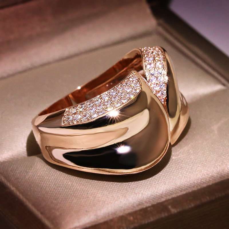 Charm Female Geometric Finger Ring Unique Style Rose Gold Engagement Ring Vintage Wedding Rings For Women