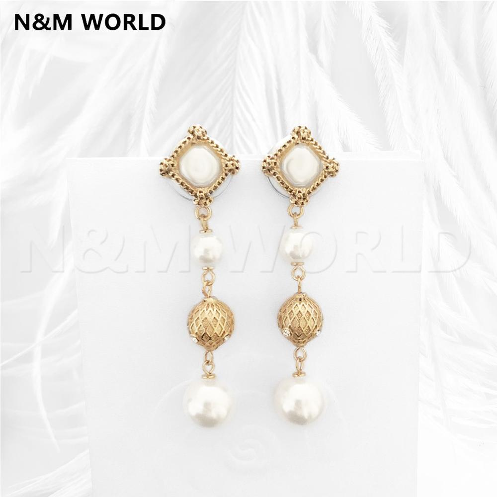 Classique rétro mode perle rotin Plaid pendentif boucles d'oreilles pour femmes filles spécial anniversaire mignon boucle d'oreille cadeau