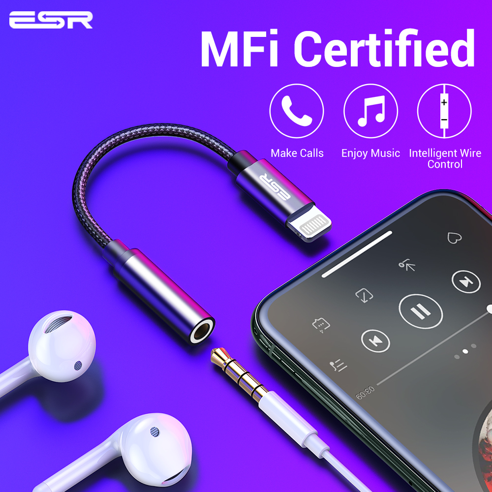 ESR Adapter MFI Lighting 3.5MM Headphone Jack Aux Plug Audio Play For IPhone X 7 8 Plus XR XS 11 Pro Max Earphone Adaptador