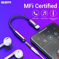 ESR Adaptador MFI de iluminación de 3,5 MM para auriculares Jack Aux Plug Audio jugar para iPhone X 7 8 Plus XR XS 11 pro Max auricular Adaptador