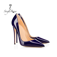 Single Rose Patent Leather Thin Heels Office Shoes Women Shallow Pumps Fashion High Heel Shoes Female Pointed Toe Sexy Shoes D11