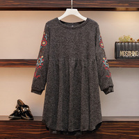 Women Autumn Plus Size Loose Midi Knited Sweater Dress Female Casual Plant Embroidery O Neck Long Sleeve Pleated Party Vestidos