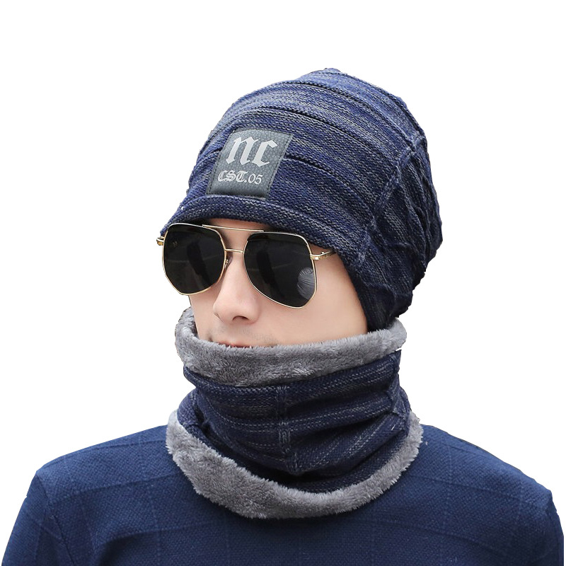 Men Knitted Wool Hat Plus Velvet Head Cap Neck Two-piece Winter Men  Boys Outdoor Hair Ring Scarf Set