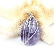 цены на Hot Selling Chakra Amethy Pendants Purple Crystal Irregular Natural Stone Cage Pendant DIY for Necklace or Jewelry Making  в интернет-магазинах