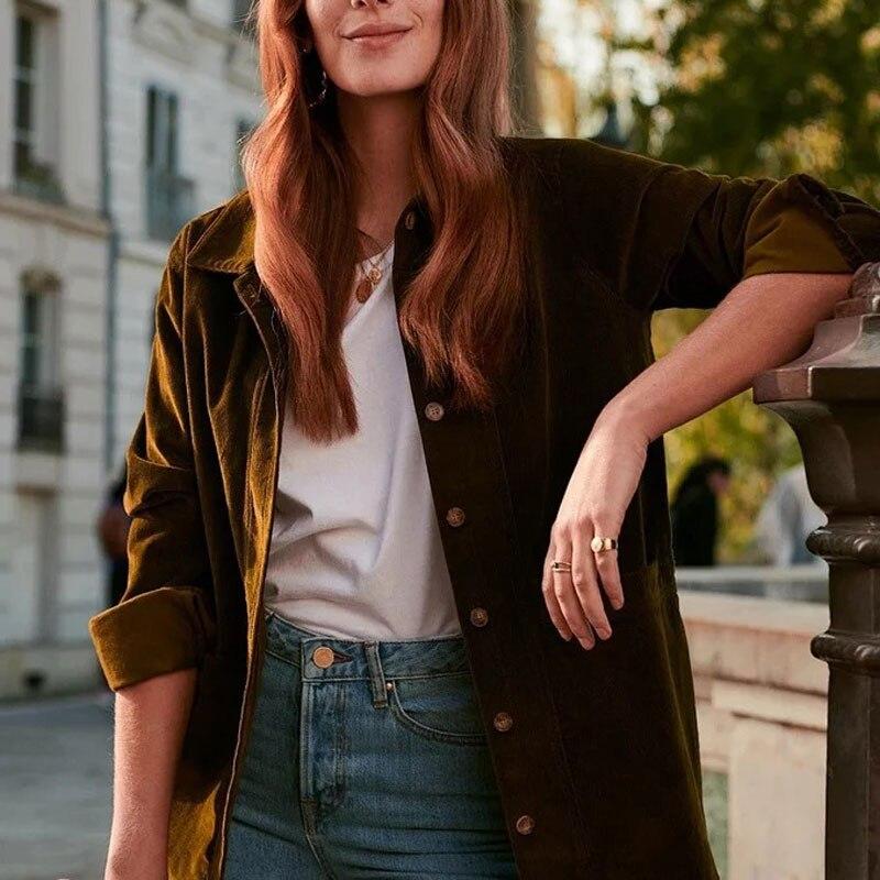 Femmes chemise 2019 nouvelle chemise à manches longues en velours côtelé