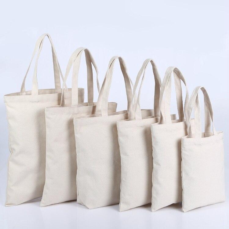 5PCS Canvas Bag Cotton Canvas Tote Bag Reusable Shopping Bags Grocery Tote Bags Cotton Cloth Handbags Women Custom Logo Print