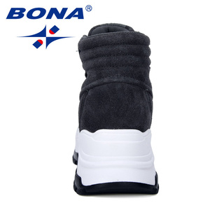 Image 2 - BONA 2019 nowi projektanci zamszowe trampki platforma ciepłe pluszowe buty zimowe damskie klinowe wysokie góry rekreacyjne buty damskie wygodne