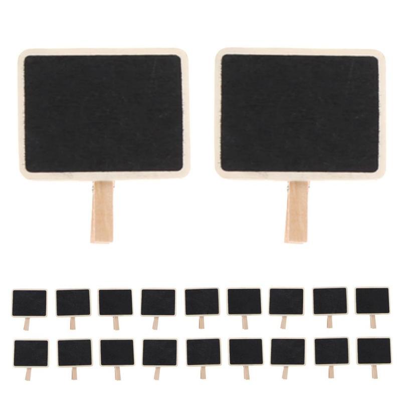 20pcs Mini Blackboard Wooden Clip Long Photos Peg Memo Clips Ornaments