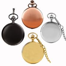 2016 New Arrival Silver Smooth Quartz Pocket Watch Fob Chain Best Gift Men Women Fashion Steampunk Roman Numerals