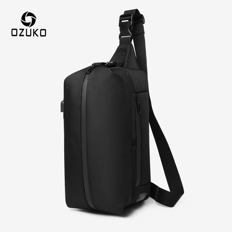 OZUKO Men Crossbody Bag USB Charging Waterproof Sling Bag Outdoor Sports Chest Pack For Teenager Male Messenger Shoulder Bags