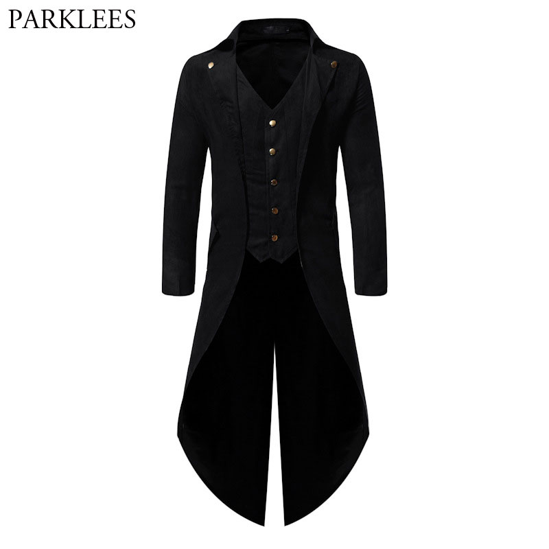 Medieval Gothic Tailcoat Men Victorian Coat Steampunk Trench Mens Cosplay Costume Tuxedo Coat Halloween Festival Party Homme 4XL