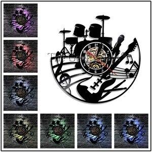 Музыкальные инструменты Виниловая пластинка настенные часы современный дизайн гитары и барабана наборы рок музыки светодиодный часы наст...