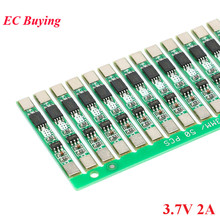 100pcs 1S 3.7V 2A ליתיום BMS PCM 18650 ליתיום סוללה לוח הגנת חיוב יתר מעל פריקה קצר מעגל PCB יון li סלולרי
