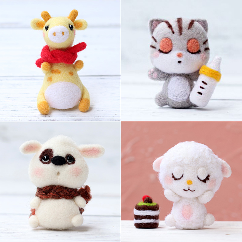 LMDZ 1Pcs Cat Doll Animal Wool Felt Craft DIY Non Finished Poked Set Handcraft Kit For Needle Material Bag Pack DIY Handcarft