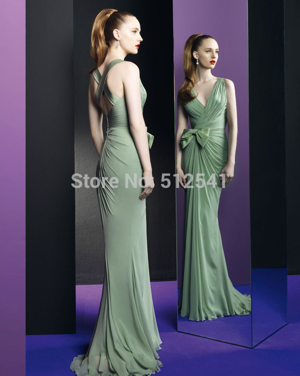 Fashion Cross Back Chiffon Robe De Soiree 2019 Evening Dresses Mermaid V Neck Pleats Bow Sexy Backless Brand Design Formal Gowns