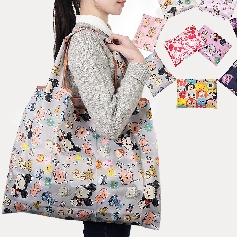 New Fashion Printing Foldable Eco Friendly Shopping Bag Tote Folding Pouch Handbags Convenient Large-capacity Storage Bags